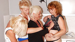 Three mature sluts party with one hard cock