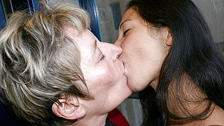 Old and young lesbos get really kinky