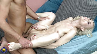 Taboo sex with skinny mature mother and son