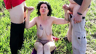 German Nudism Mature Seduce to Fuck by two Stranger Public