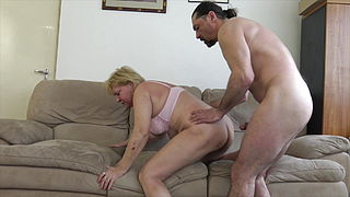 60 Granny fucks with younger loverboy