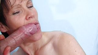POV blowjob with the dick for the naked mature mom