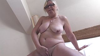 Busty granny loves to feel her warm pussy so fine