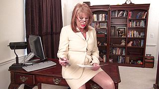 Clothed granny, with sexy glasses, naughty teaser