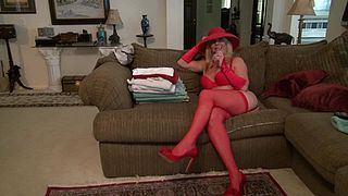 Granny in red lingerie, full fantasy casting couch scenes