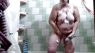 Old web model LadyMature in the shower