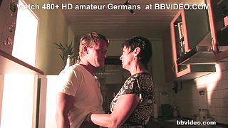 Short haired german granny fucks young boy like a cowgirl