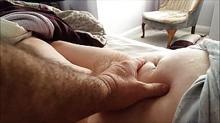 Chubby Grannys Hairy Muff teased and taped