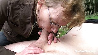German old Granny fuck outdoor by younger Man