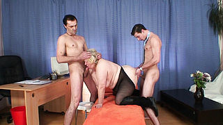 Huge hairy granma takes double penetration