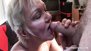 Blonde mature enjoys sucking horny cock