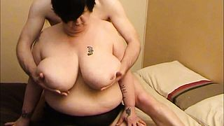 BBW Granny with a huge pair of boobs Blowing