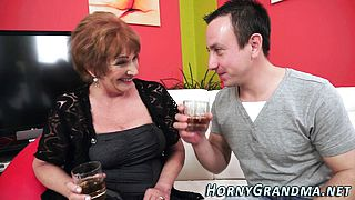 Buxom grandmother cumshot