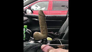 public 11 inch dildo and 8 inch cock flash car
