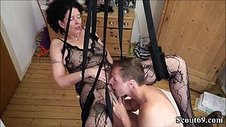 German StepSon Fuck Mother with Stockings in Love Swing