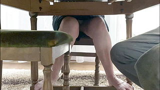 My mother-in-law spreads her legs under the table