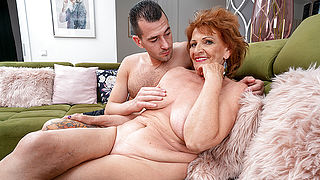 Horny grandma sucks her toyboys cock and gets her pussy thumped